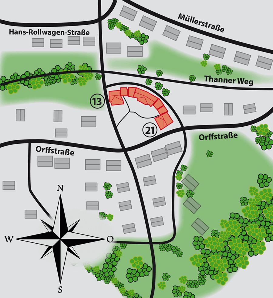 Lageplan GWG Wohnanlage Orffstraße